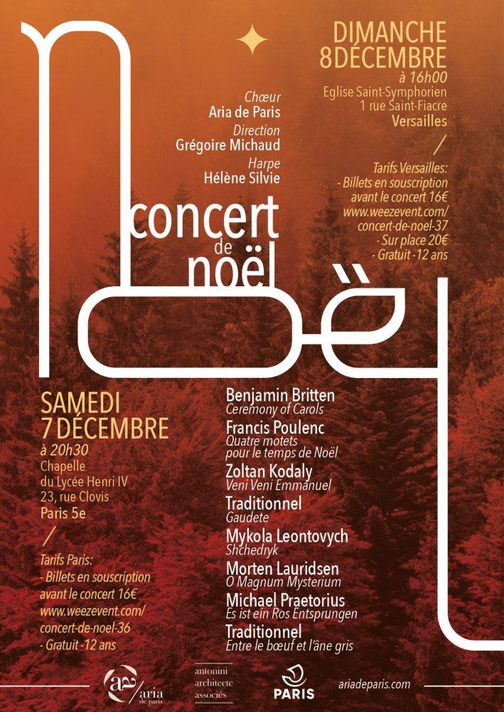 Affiche concert de Noël Lycée Henri IV 2019