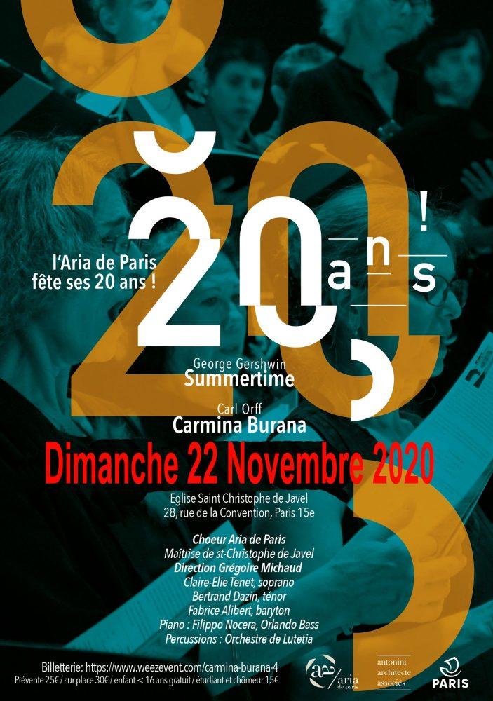 Affiche concert 20 ans de l'Aria